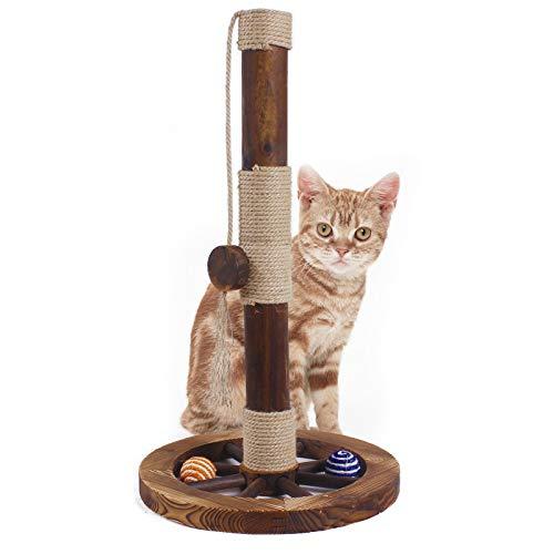 JR Knight Kratzsäule Kratzstamm für Katzen Kratzbaum kratzbretter Kratzstange mit Sisalstamm und Spielball Katzenspielzeug für Katzen zum Spiele und Krallenpflege Höhe 60 cm