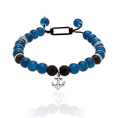 Steve Madden Polished Stainless Steel Anchor Charm Blue and Black Beaded Adjustable Bracelet for Men