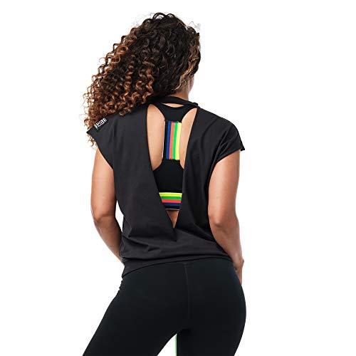 Zumba Sexy Active Wear Women's Dance Tops Workout Open Back Shirts for Women, Bold Z, XL