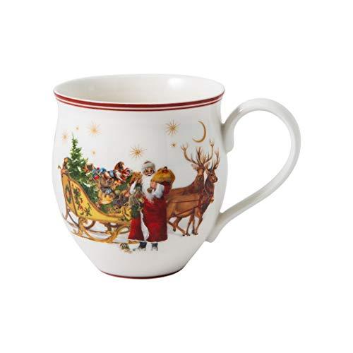 """Villeroy & Boch - Toy's Delight vaso con asa """"Papá Noel con trineo"""", taza de coleccionista de porcelana Premium, multicolor/verde/rojo, 440ml"""