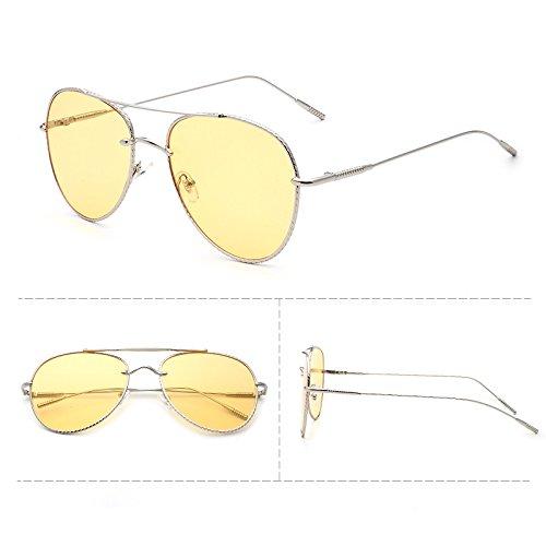 Sunyan Die neue Runde Sonnenbrille Männer star Südkoreanischen Persönlichkeit Dame tide Rote Sonne 3287 Network Driver Trendsetter, silbrig Gelb transdermale Tablet gerahmt