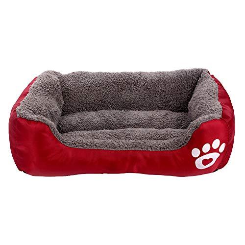 MISSMAO_FASHION2019 Hundebett,Hundesofa aus Cordura, Microfaser-Velours, waschbares Hundebett mit Rand, Hundekissen Vier-eckig Rotwein XL(80x65cm)