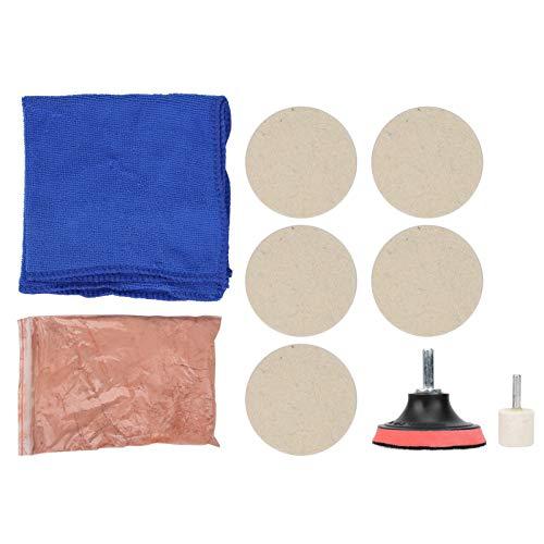 Kit de pulido de vidrio, 100 g de polvo de óxido de cerio y almohadilla de pulido de lana y rueda de lana, removedor de arañazos de parabrisas de ventana de automóvil, para pulir vidrio de automóvil