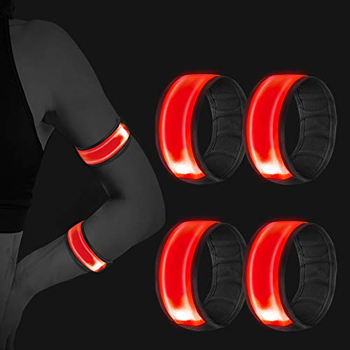 Vegena 4 Stück Reflektorband, LED Armband Leuchtband Reflective Leucht Armbänder Lichtband Lauflicht Licht Reflektoren Kinder Reflektor für Laufen Joggen Hundewandern Radfahren Outdoor Sports Running