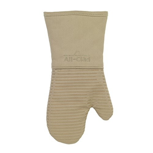 All-Clad Textiles Deluxe Heat and Stain Resistant Oven Mitt. Made of Silicone Treated Heavyweight 100-Percent Cotton Twill, Machine Washable, 14 x 6.5 Inches, Cappuccino Brown
