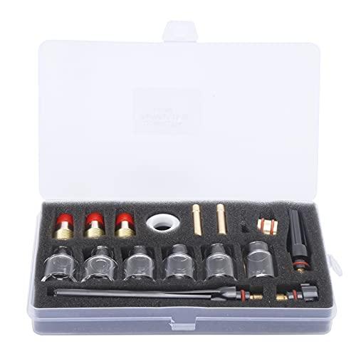 GAESHOW Kit di accessori per torcia di saldatura Coppa di vetro Accessori per utensili elettrici per saldatore in ottone per WP-17/18/27