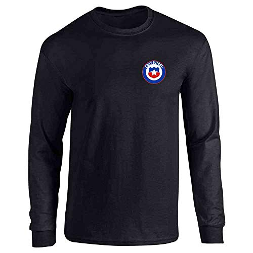 Chile Futbol Soccer Retro National Team Costume Black L Full Long Sleeve Tee T-Shirt