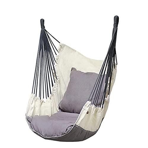 Relax Swing Silla con Almohada Colgante de Hamaca Silla de algodón para una Comodidad Superior y Durabilidad Adecuado para jardín de jardín Interior/Exterior,Blanco