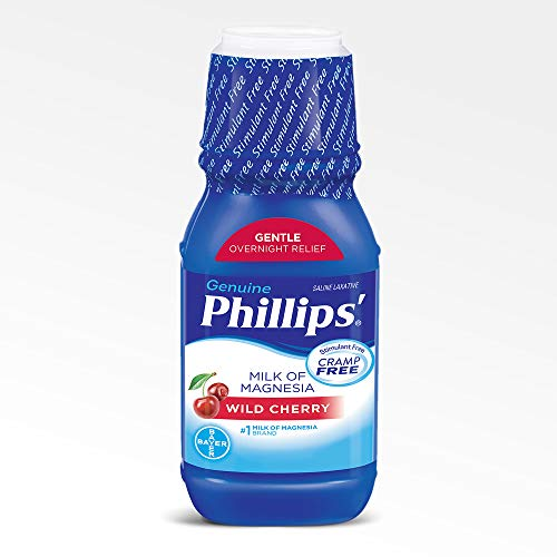 Phillips' Milk of Magnesia Liquid Laxative, Wild Cherry, 12 oz, Cramp Free & Gentle Overnight Relief Of Occasional Constipation, #1 Milk of Magnesia Brand