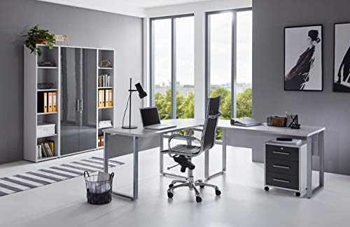 BMG-Moebel.de Büromöbel komplett Set Arbeitszimmer Office Edition in Lichtgrau/Anthrazit Hochglanz (Set 3)