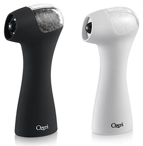 Ozeri Graviti Pro II Salt and Pepper Grinder, Black/White