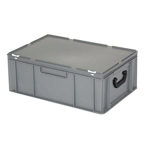 Kunststoffkoffer mit Scharnierdeckel, grau, LxBxH 600 x 400 x 230 mm, lebensmittelecht, Industriequalität