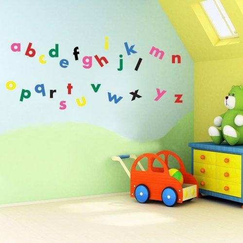 Vinyl Concept Autocollants muraux décoratifs pour enfant Crèche Lettres de l'alphabet Faciles à décoller