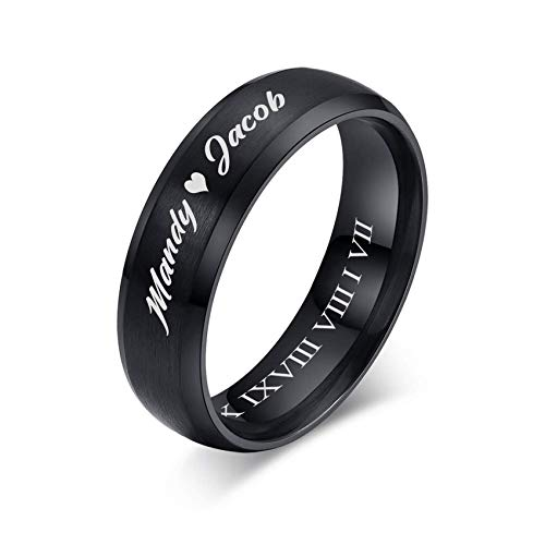 VNOX Customize Personalized Jewelry-6MM Black Stainless Steel Beveled Edge Matte Brushed Finish Wedding Promise Band Rings for Men Women Lover Promise Band Rings for Men Women Lover