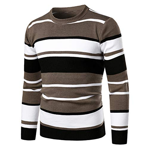 Sweater Men Long Sleeve Striped Sweater Round Neck Knit Wool Fine Knit Korean Style Casual Men Slim Fit Lightweight Breathable Sweatshirt Fall Fitness Jogging Top XXL