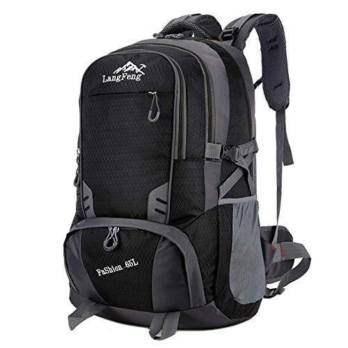65L Casual Sport Hiking Backpack, Multi-Functional Water-Resistant Outdoor Traveling Trekking Rucksack Camping Cycling Climbing Mountaineer Daypack for Men Women,Green GAGEAA (Color : Black)