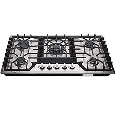 Hotfield HF825-SA06 34 inch Gas Cooktop Dual Fuel Sealed 5 Burners Stainless Steel Drop-In gas hob gas cooker