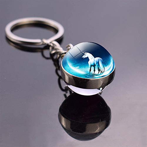 Zbzmm Keychain paard sleutelhanger Horsehead Double Side Art beeld glazen bol sleutelhanger hoorse stuff hanger sleutel charm geschenken