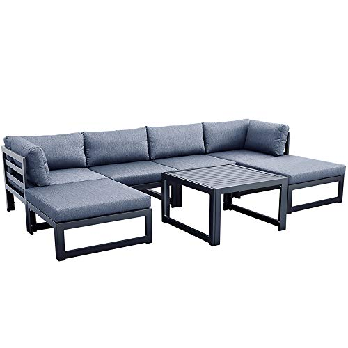 ZXHH 7 Piece Outdoor Patio Furniture Set, Outdoor Sofa Set with Strong Metal Frame and Comfortable Cushions, Outdoor Sectional Furniture Chair Set with Cushions and Tea Table