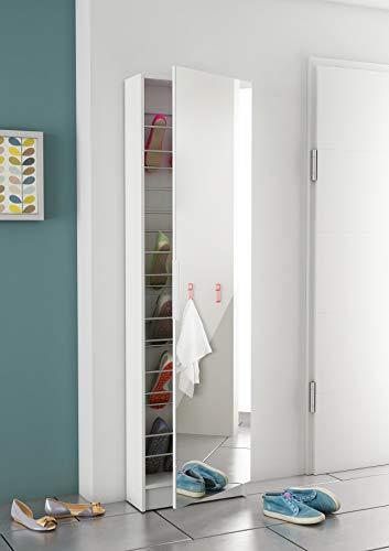 ZAPATERO Ordine A8 Schuhschrank Schuhregal Flurschrank, Weiß, MDF, Spanplatte, 50 x 20 x 180.5 cm