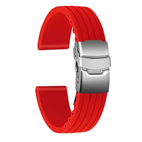 Ullchro Correa Reloj Calidad Alta Recambios Correa Relojes Caucho Stripe Pattern - 16mm, 18mm, 20mm, 22mm, 24mm Silicona Correa Reloj con Acero Inoxidable Hebilla desplegable (24mm, Rojo)