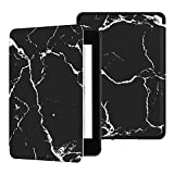 Ayotu Water-Safe Case for Kindle Paperwhite 2018-PU Leather Smart Cover with Auto Wake/Sleep-Fits Amazon The Latest Kindle Paperwhite Leather Cover (10th Generation-2018),K10 Black-The Marble Pattern