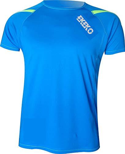 Camiseta EKEKO T Race DE Manga Corta para Hombre, Running, Atletismo, y Deportes en General. (S, Azul)