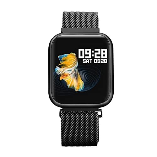 Women's Casual Smart Watch Ritmo Cardíaco Presión Arterial Monitoreo De La Salud del Sueño Control Remoto Cámara De Música Pulsera Inteligente Reloj Deportivo (Color : Black)