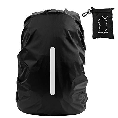 Vegena Regenschutz für Rucksack, Regenschutz Rucksack mit Reflexstreifen(8-70L) Regenschutz Schulranzen Wasserschutz Regenhülle für Outdoor Camping Wandern Radfahren Schwarz