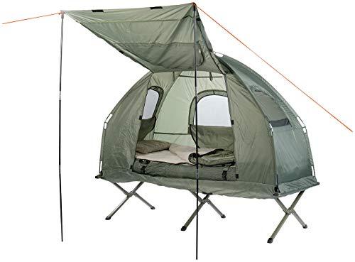 Semptec Urban Survival Technology Campingliege: 4in1-Zelt mit Feldbett, Winter-Schlafsack, Matratze und Sonnenschutz (Feldbettzelt)