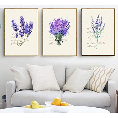 MMLFY 3 Leinwandbilder 30x40cm3pcs LavendelCombina 3 Stücke Dekorative Malerei Modulare Bild Wandkunst Leinwand Malerei für Wohnzimmer Kein Gestaltet