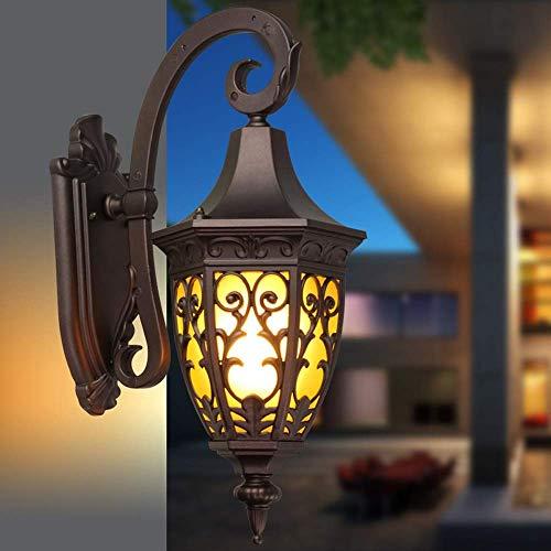 Lámpara de pared para exteriores Vintage Retro Lámpara de pared impermeable Villa Patio Porche Luz Farolillos de vidrio victorianos tradicionales Lámparas de pared Exterior Exterior Lámpara de pared