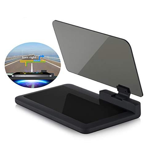 Head-up-Anzeige GPS-Navigation - Bysameyee Universal-Auto-Schlag-Berg-Handy-Halter-reflektierender Film, Fahrzeug-HUD Smartphone-Halter-Berg für iPhone Androide Telefone
