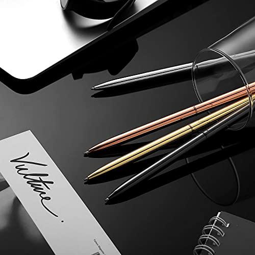 8 Piece Metal Ballpoint Pen Set, Metal Twist Black Ink Pen Slim Metallic Ballpoint Pens Writing Pen, Home School Office Supplies for Students Teachers, Gold, Rose Gold, Steel, Silver Photo #3