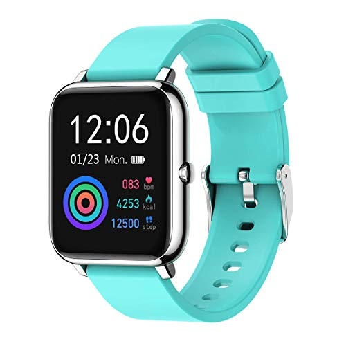 """Rogbid Rowatch 1 Smart Watch 1.4""""Touch Screen Fitness Tracker Sleep Heart Rate Monitor Blood pressure Monitor Blood Oxygen Meter Bluetooth Compatible iPhone iOS Android Smartwatch for Men Women(Blue)"""