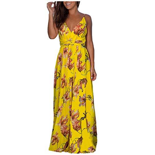 Moda Mujer Verano Estampado Floral Vestido sin Mangas Camisola Vestido Largo Verano de Manga Corta para Mujer con Cuello en v Vestidos Casuales de Playa