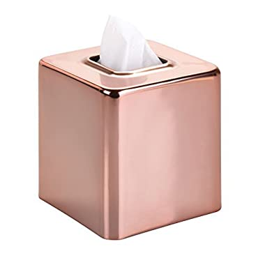 mDesign Square Paper Facial Tissue Box Cover Holder for Bathroom Vanity Countertops, Bedroom Dressers, Night Stands, Desks and Tables - Steel, Rose Gold