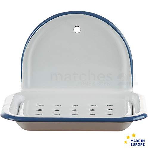 matches21 Email Seifenschale zum Hängen/Wandmontage Retro Emaille Seifenunterlage weiß 13 x 10 x 9 cm