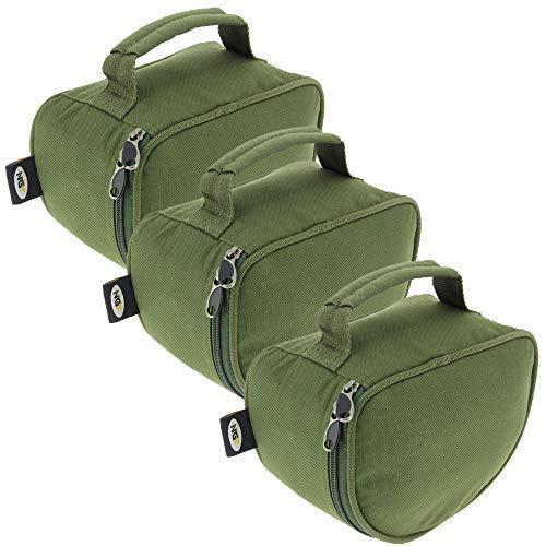 3 X Groß Luxus Reißverschluss Grün Gepolstert Rolle Tasche Hüllen für Karpfen Hecht Hochseeangeln mit Griff/Tragegriff Halter Big Pit NGT