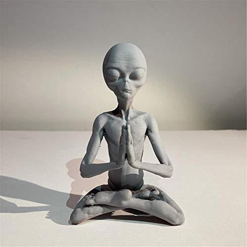 Meditierende Alien Statue Gartendekorationen, Gartenstatue Weltraum Alien, Mini Harz Kunstfigur, lustige Art Ornamente für Hausmöbel, Geburtstagsgeschenk für Kinder
