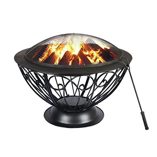 Timechee 31 Inch Round Fire Pit, Wood Burning Firepits Bowl with Spark Screen and Fireplace Poker, Outdoor Firebowl  for Patio, Bonfire,Picnic, Backyard and Garden, Black