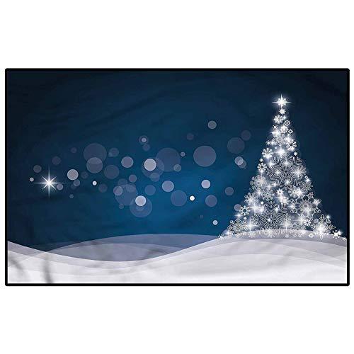 Christmas Non Slip Rug pad Farmhouse Kitchen Rugs Fantasy Xmas Tree Office Chair mat for Carpet Child 6 x 7 Ft