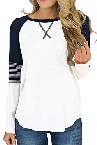QAKEHU Damen Langarmshirt Rot, Baseball Langarm T-Shirt Rundhals Sweatshirt Frauen Patchwork Blusen Top Herbst Weiß S