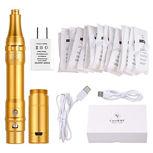 Charme Princesse Wireless Permanent Makeup Machine with 15pcs Needles Cartridges 5w Motor Tattoo Machine for Miroblading Shading Eyeliner Lip Gold EM403-1