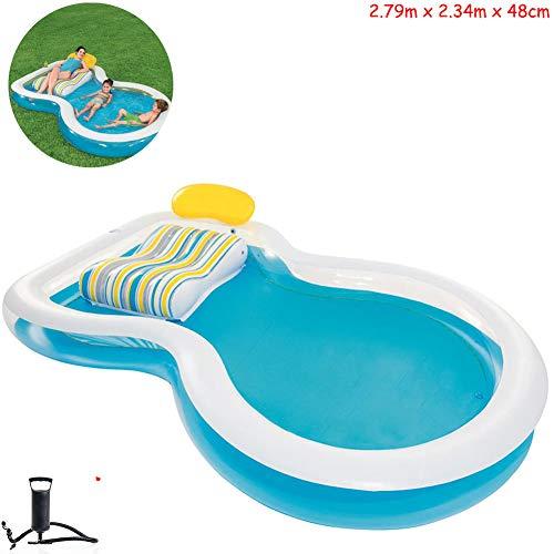 Gettop Niños Piscina Inflable Portable Outdoor Piscina, Piscina con Tumbonas, Piscina Inflable Transparente, Piscina para Bebés, para Niños Juego Acuático Pelota Piscina