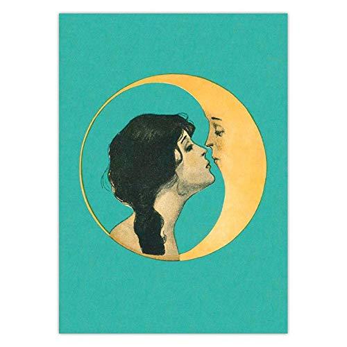 Druck auf Leinwand Vintage Girl Kissing Moon Leinwand Kunstdruck Man in The Moon Art Decor Moon Face Wall Art Poster Bild Leinwand Malerei 12'x 16' (30x40cm) Rahmenlos