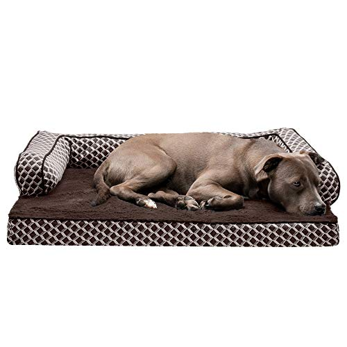 Furhaven Pet Dog Bed - Orthopedic Plush Faux Fur and Décor Comfy Couch Traditional Sofa-Style Living Room Couch Pet Bed with Removable Cover for Dogs and Cats, Diamond Brown, Large
