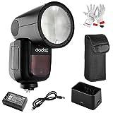 【Godox正規代理&技適マーク】Godox V1-N フラッシュストロボ 76Ws 2.4G TTLラウンドヘッドフラッシュスピードライト 1/8000 HSS 480フルパワーショット10レベルLEDモデリングランプ Nikonカメラ対応