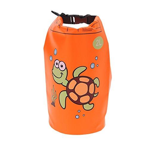 Wasserdichte Tasche für Kinder Wasserdichter Packsack für Reise, Camping, Wassersport, Dry Bag, 2 Liter Volumen, Kindermotiv Orange