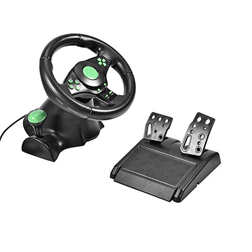 PC Lenkrad, Gaming Rennlenkrad für Xbox 360/ PS2/ PS3/PC (Plug & Play, Pedale für Gas und Bremse, 180 ° Lenkbereich) (Schwarz und Grün)